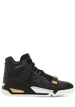 MEDUSA STRAP HIGH TOP LEATHER SNEAKERS