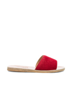 Ancient Greek Sandals Real Dyed Calf Hair Taygete Sandals in Red
