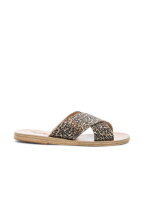 Ancient Greek Sandals Satin Thais Sandals in Animal Print,Brown