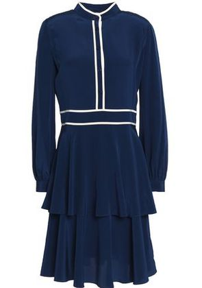 Tory Burch Woman Tiered Pleated Silk Crepe De Chine Dress Navy Size 10