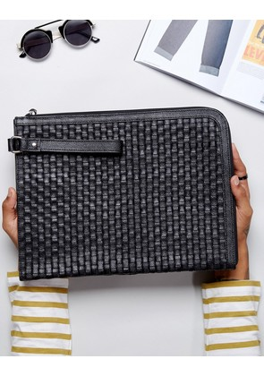 ASOS Leather Document Holder With Woven Design - Black