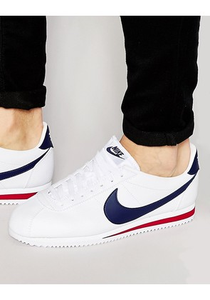 Nike Cortez Leather Trainers In White 749571-146 - White