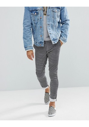 ASOS Skinny Trousers In Monochrome Check - Black