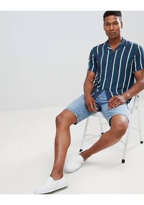 Pull&Bear striped shirt with revere collar in navy - Navy