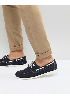 Frank Wright Boat Shoes In Navy - Navy