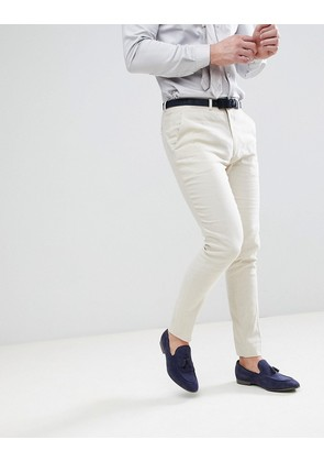 ASOS Wedding Super Skinny Suit Trousers In Stone Linen - Putty