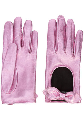 Gucci bow driving gloves - Pink & Purple