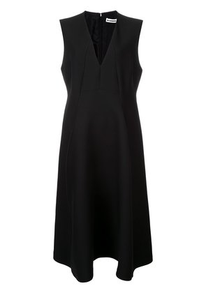 Jil Sander flared V-neck dress - Black