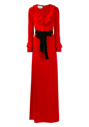 Gucci pleated ruffle gown - Red