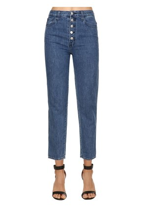 HIGH WAIST COTTON DENIM MOM JEANS