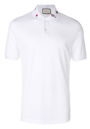 Gucci embroidered polo shirt - White
