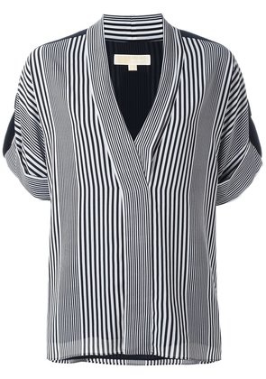 Michael Michael Kors striped v-neck blouse - Blue