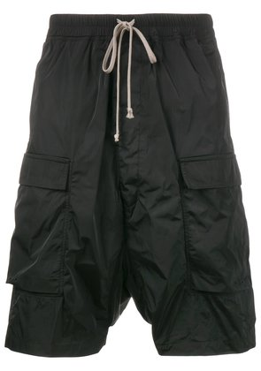 Rick Owens Drop-crotch Cargo Shorts with Front Pockets - Black