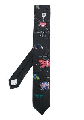 Valentino video game jacquard tie - Black