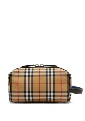 Vintage check cotton-blend and leather pouch