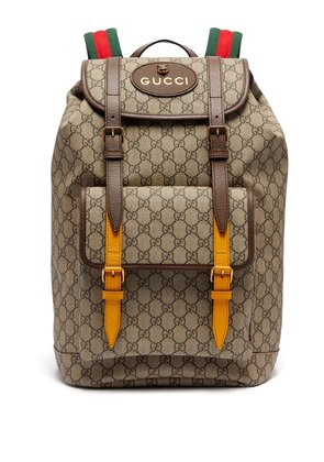 GG Supreme-print leather-trimmed canvas backpack