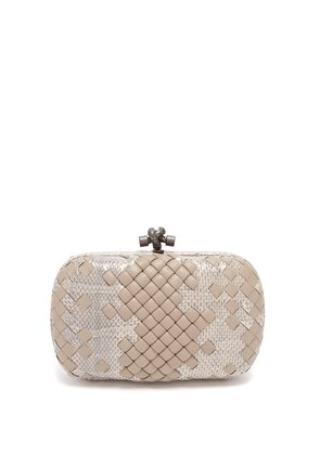 Knot leather and watersnake clutch