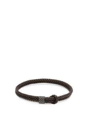 Double Intrecciato-woven leather bracelet