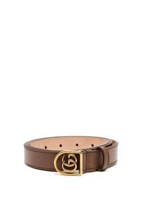GG-encased buckle grained-leather belt