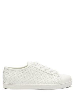 Intrecciato low-top leather trainers