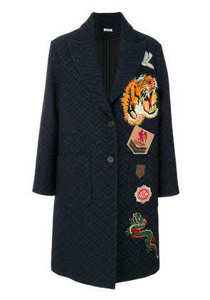 P.A.R.O.S.H. chevron pattern coat with patches - Blue