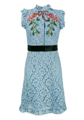Gucci embroidered cluny lace dress - Blue