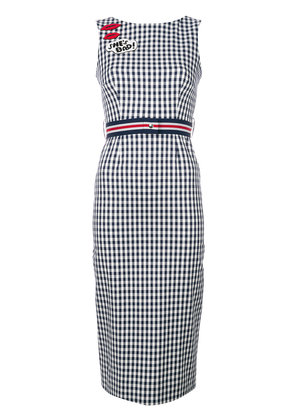 P.A.R.O.S.H. lip patch checked dress - Blue