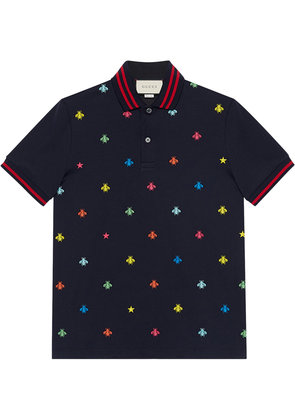 Gucci Cotton polo with bees and stars - Blue