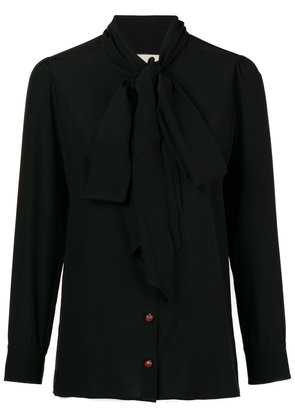 Gucci bow-neck ladybug buttons blouse - Black