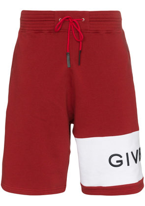 Givenchy logo band cotton track shorts - Red