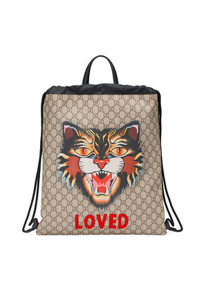 Gucci Angry Cat print soft GG Supreme drawstring backpack - Nude &