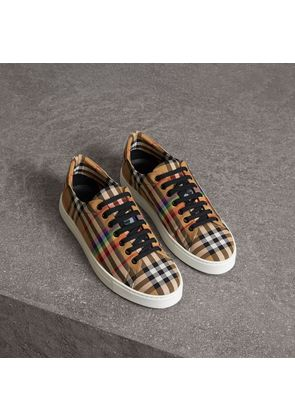 Burberry Rainbow Vintage Check Sneakers, Size: 42, Yellow