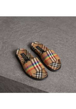 Burberry Rainbow Vintage Check Slides, Size: 41, Yellow