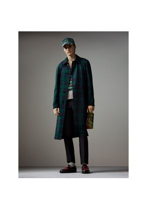Burberry Reversible Tartan Wool and Cotton Gabardine Car Coat, Size: 46, Blue