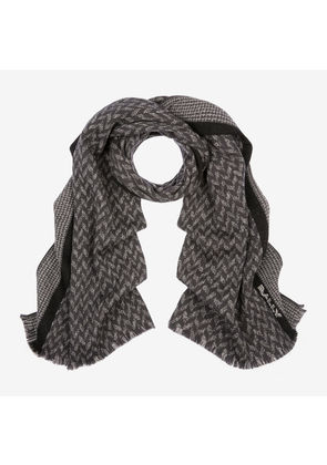Bally Chevron Knit Scarf Grey, Men's wool scarf in grey