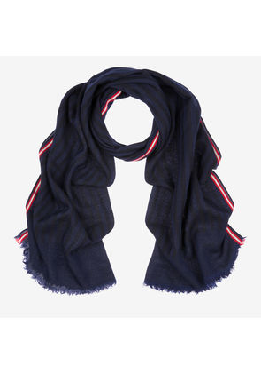Bally Wool Jacquard Stripe Scarf Blue, Men's wool blend scarf in blue navy