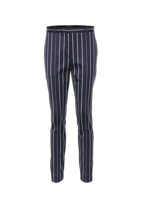 Striped wool and cotton pants