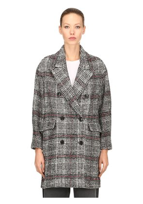 DOUBLE BREASTED WOOL BLEND PLAID COAT