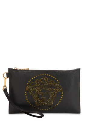 PERFORATED MEDUSA GRAINED LEATHER POUCH