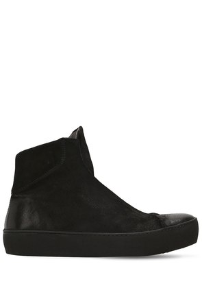 WAXED SUEDE SLIP-ON HIGH TOP SNEAKERS