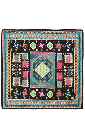 ETHNIC PRINTED SILK POCKET SQUARE