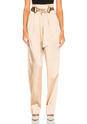 Sally Lapointe Stretch Satin Belt Tapered Pant in Neutrals