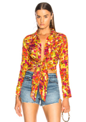 ADRIANA DEGREAS Fruits Print Top in Yellow,Floral