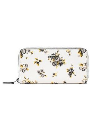 Coach Woman Floral-print Leather Wallet Ivory Size -