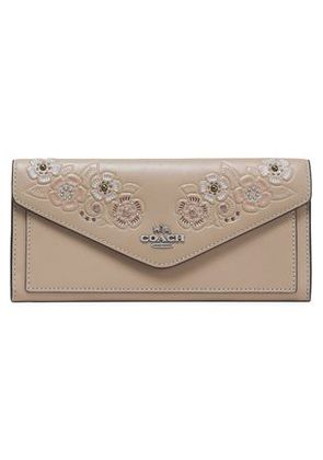Coach Woman Embellished Embossed Leather Wallet Mushroom Size -