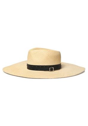Rag & Bone Woman Leather-trimmed Straw Sunhat Ecru Size M/L