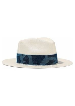 Rag & Bone Woman Denim-trimmed Straw Panama Hat White Size M/L