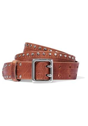 Rag & Bone Woman Willow Studded Leather Belt Light Brown Size M