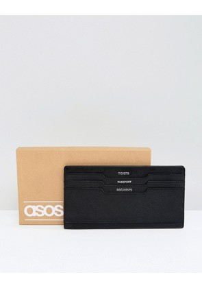 ASOS Leather Travel Wallet In Black With Headers - Black