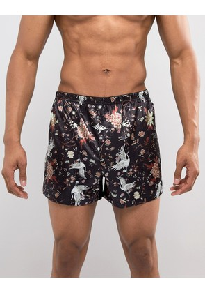 ASOS Woven Boxers With Satin Feel Floral Print - Black